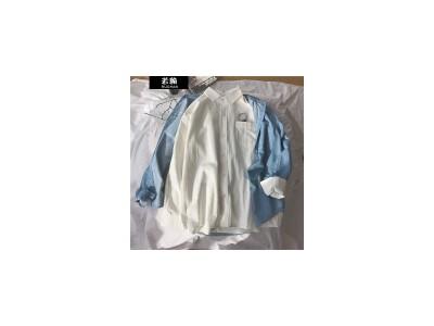 若翰长袖衬衫男情侣款寸衫小外套高中学生韩版潮流休闲小清新衬衣男衣服ins上衣 白色 L
