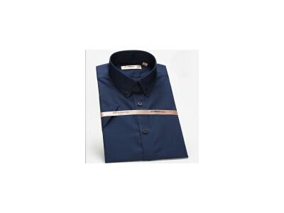 十米布 短袖衬衫男夏季免烫商务职业工装韩版修身男士休闲正装立领白衬衣 藏青色 44