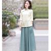2019夏装新款手绘棉麻上衣复古民国原创女装中国风衬衫女