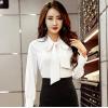 白衬衫女2019春季新款精品女装气质职业OL蝴蝶结长袖雪纺开衫上衣