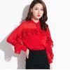 2019春季新款名媛女装韩版修身气质荷叶边chic立领上衣雪纺衬衫女