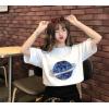 批发2020夏新款半袖星球印花女装宽松丧系衣服韩版短袖黑白T恤女