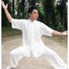 夏季短袖太极服棉麻武术练功服男功夫服亚麻中袖太极拳服表演服装