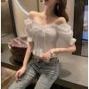 网红直播衣服女主播服装上镜性感气质可拉肩上衣短款露脐收腰衬衫