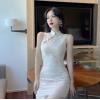 网红直播衣服女主播服装上镜新式改良旗袍短裙蕾丝连衣裙超仙气质