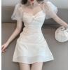 网红直播衣服女主播服装上镜性感水钻蝴蝶结泡泡袖白色初恋仙女裙