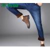 加绒可选)木林森男士秋季牛仔裤商务裤宽松休闲服装弹力纯色牛仔