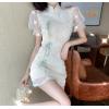 2020夏季网红直播衣服女主播服装服装上镜钉珠花朵刺绣旗袍连衣裙