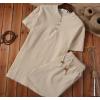 套装中国风男装短袖t恤亚麻棉麻料民族复古风休闲佛系禅意衣服装